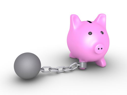 Piggy bank is detained by a ball and chain - The Robenalt Law Firm, Inc.