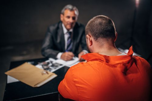 Lawyer and inmate in a jail cell