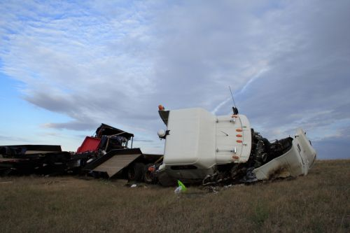 18 wheeler rolled over in the ditch.